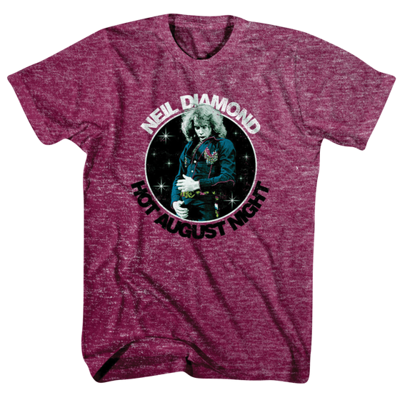 Hot August Night Tee (Maroon)-Neil Diamond