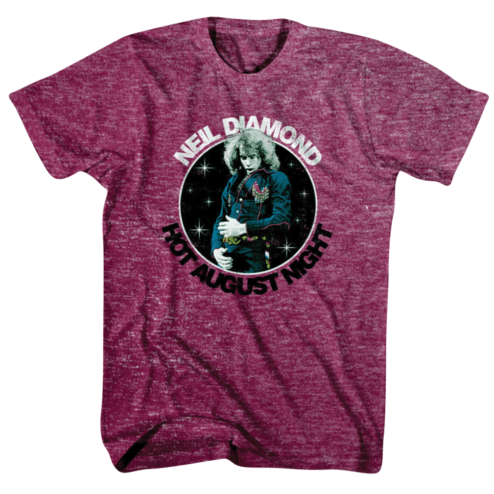 Hot August Night Tee (Maroon) - Neil Diamond