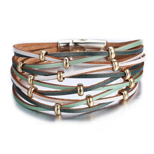 Load image into Gallery viewer, Women's Gold Leather Bracelet