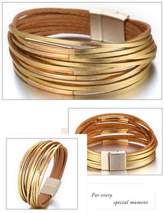 Women's Gold Leather Bracelet