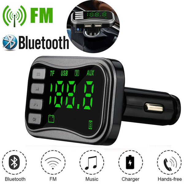#20# Bluetooth 5.0 Handsfree Car Kit FM Transmitter 3.1A Quick Dual USB MP3 LCD Digital Voltmeter TF Card U disk AUX Player
