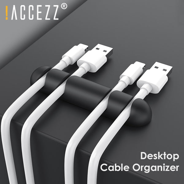 !ACCEZZ 4Holes USB Cable Organizer Winder Management Clips Office Desktop Phone Headphone Holder Mouse Keyboard Wire Cord Winder