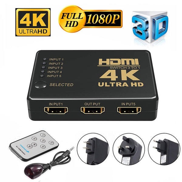 Ultra HD 4K HDMI Splitter 1X4 Port 3D UHD 1080p 4K*2K Video HDMI Switch Switcher HDMI 1 Input 5 Output HUB Repeater Amplifier