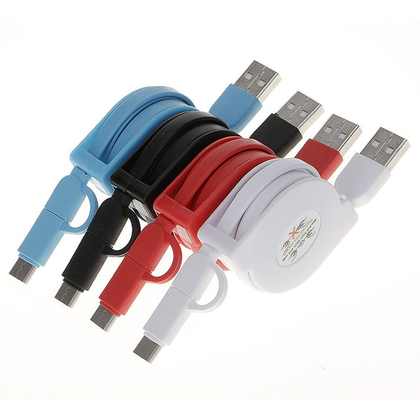 1PC Retractable Roll Ruler 2 In 1 USB Data Sync Cable Charging Cord for Android+Type C Smartphone Mobile Phone Charger