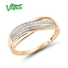 Load image into Gallery viewer, VISTOSO Genuine 14K 585 Rose Gold Chic Rings For Lady Sparkling Diamond Engagement Anniversary Simple Style Eternal Fine Jewelry