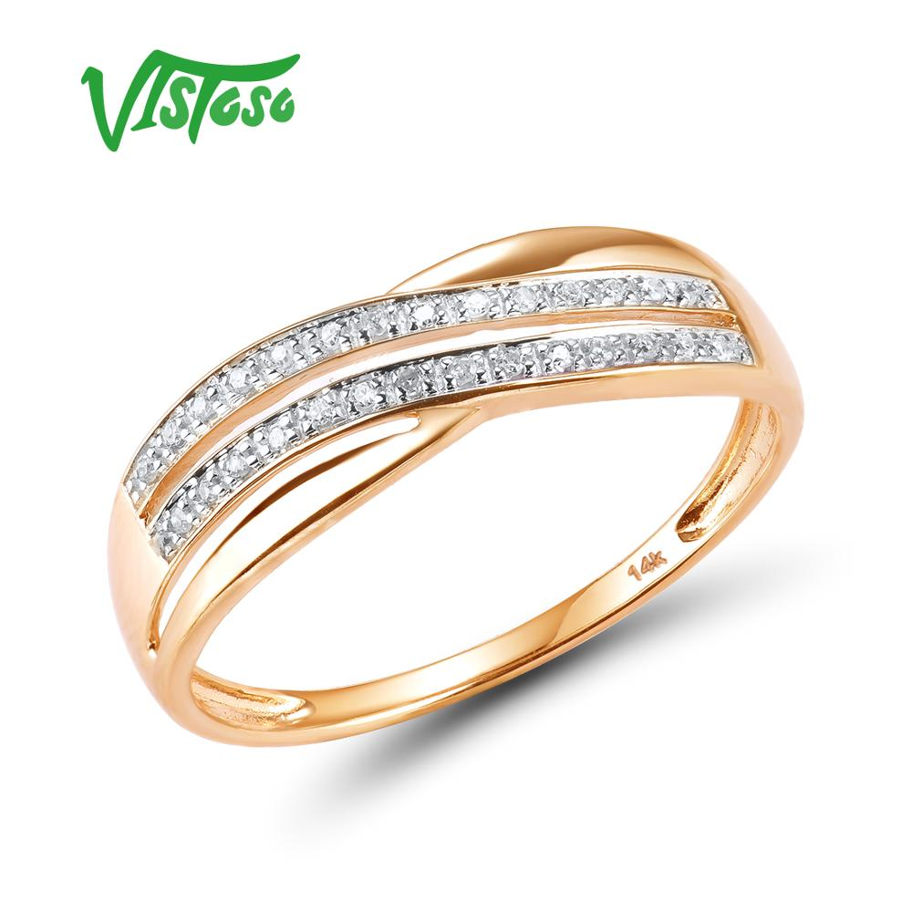 VISTOSO Genuine 14K 585 Rose Gold Chic Rings For Lady Sparkling Diamond Engagement Anniversary Simple Style Eternal Fine Jewelry