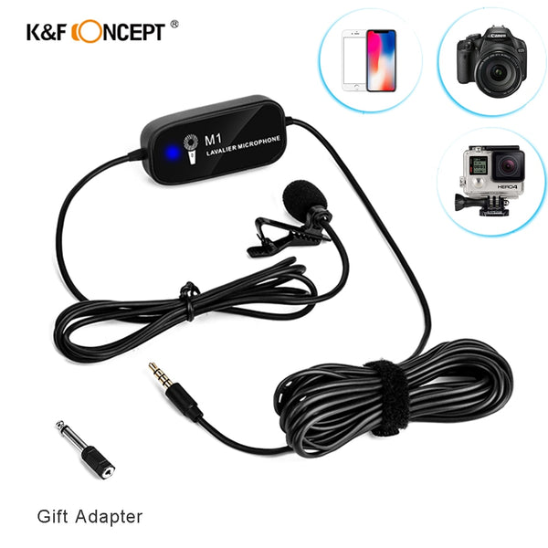 K&F Concept Lavalier Microphone Portable External Mic For Camera Laptop For IPhone Android Mobile phone For GoPro Hero 7 5 Black