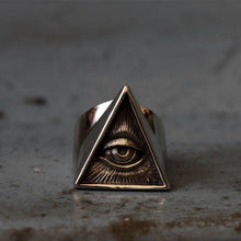 Load image into Gallery viewer, Mens Stainless Steel Biker Ring Skull Silver Color Freemason Illuminati Triangle Masonic Rings Punk Masonic Jewelry