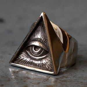 Mens Stainless Steel Biker Ring Skull Silver Color Freemason Illuminati Triangle Masonic Rings Punk Masonic Jewelry
