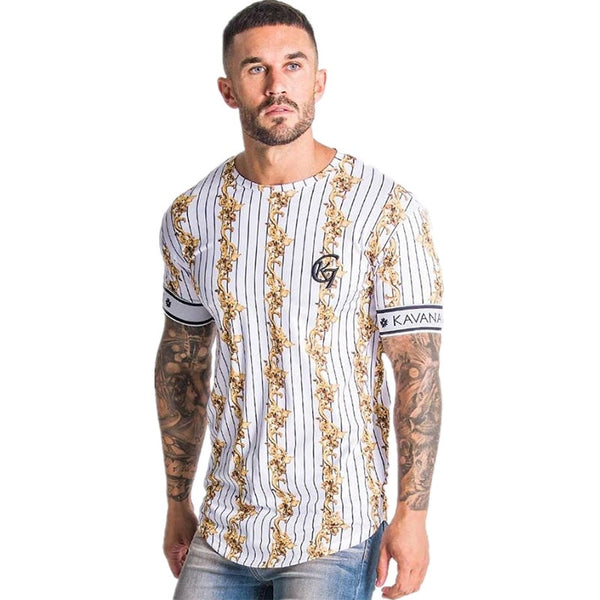 2020 Summer Streetwear Stripe Men T-shirt Brand Casual Man Clothing Hip Hop Male Tees Tops Fashion T Shirt Men