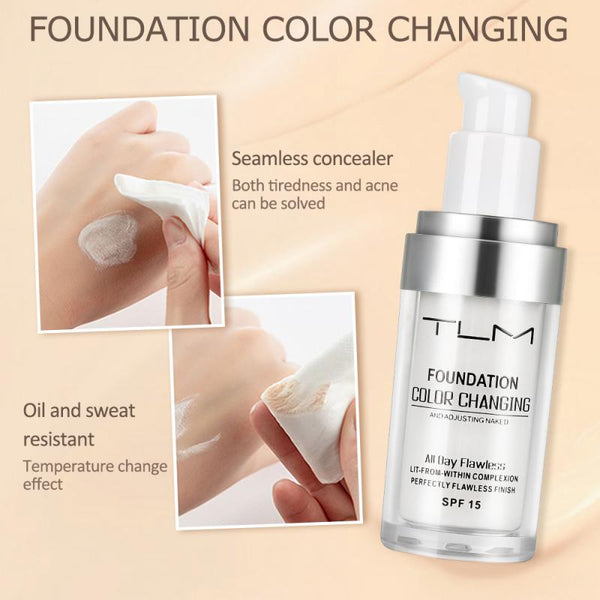 TLM Foundation 30ml Makeup Color Changing Liquid Foundation Matte High Coverage Concealer Cream Base maquiagem Drop Ship TSLM1