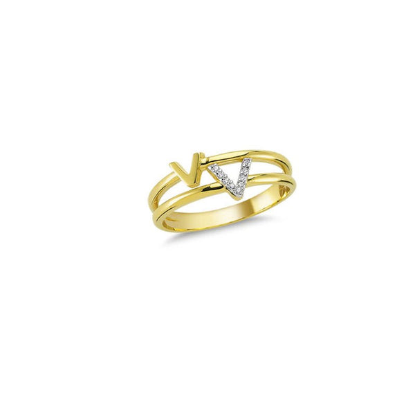14K Solid Gold V Detail Ring for Women