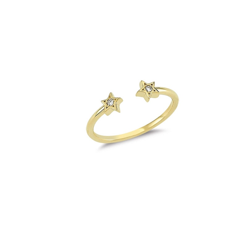 14K Solid Gold Star Ring for Women (White Resizable)