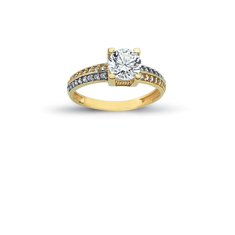 14K Solid Gold Solitaire Art Deco Engagement Wedding Ring (White Resizable)