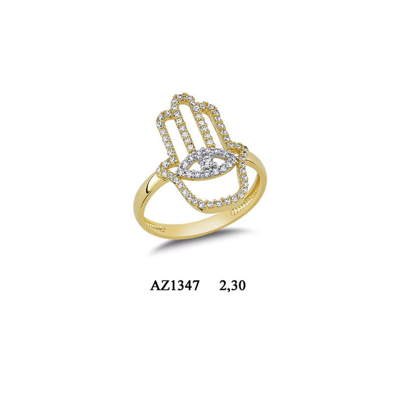 14K Solid Gold The Hand of Fatima Ring for Women (White Resizable)