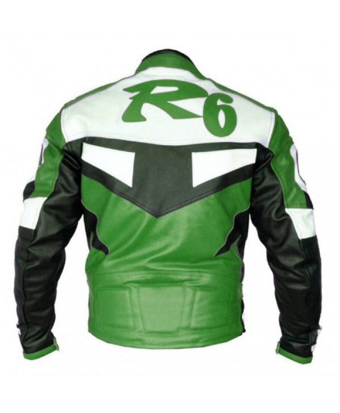 Yamaha R1 Leather Jacket - Green