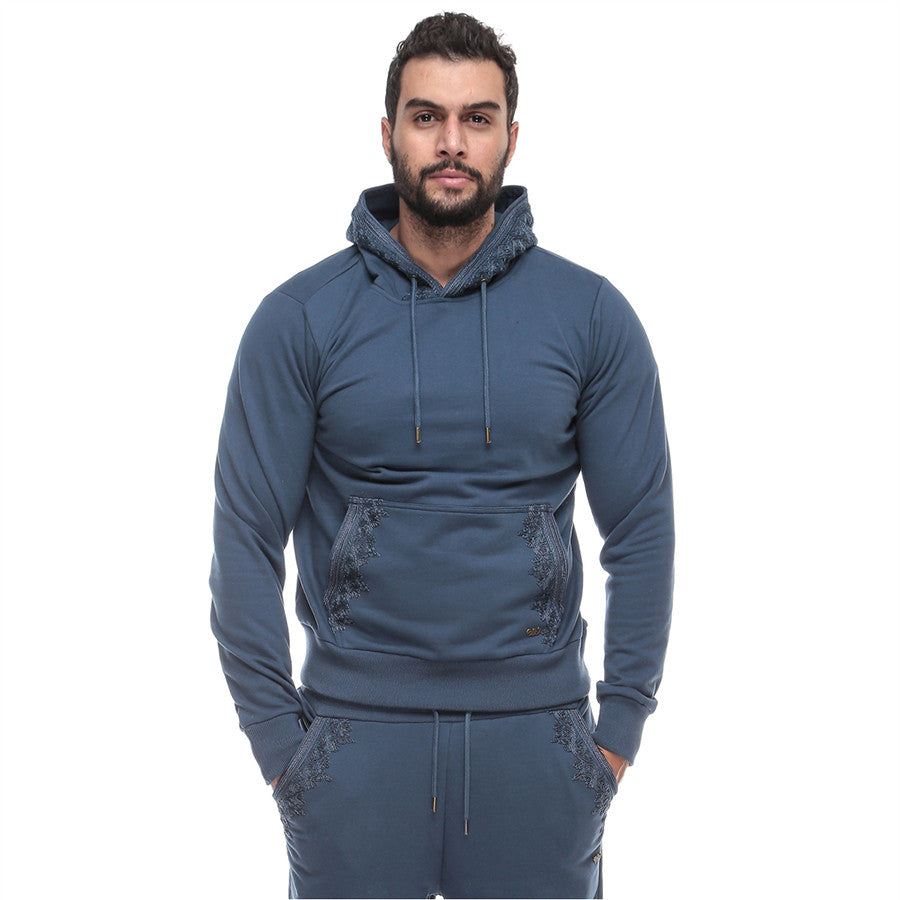 Moroccan Embroidery - Hoodie - Dark Denim