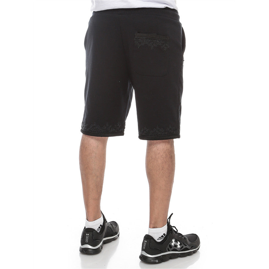Moroccan Embroidery - Sweatshort - Black