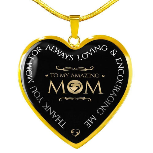 Amazing Mom - Heart Necklace - Luxury Necklace (Gold) / No - Jewelry