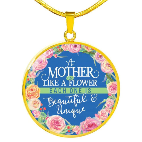 Flower Mom - Round Necklace - Luxury Necklace (Gold) / No - Jewelry