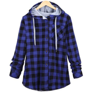 Kaizer Flannel Hoodie - Blue / Asian L / Us S