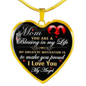 Mom - Blessing In My Life - Heart Necklace - Luxury Necklace (Gold) / No - Jewelry