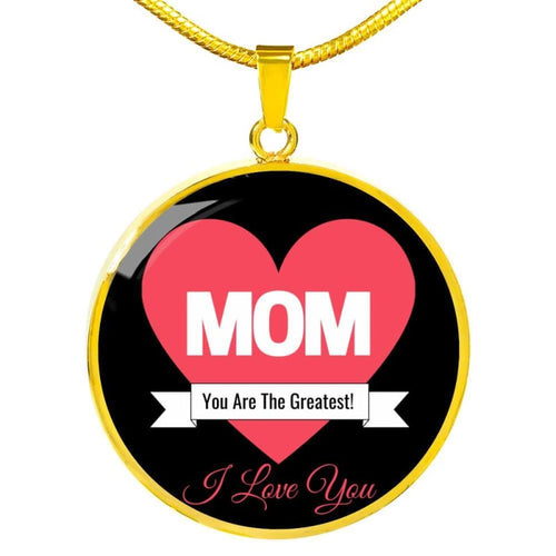Mom - I Love You - Round Necklace - Luxury Necklace (Gold) / No - Jewelry