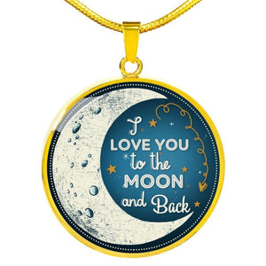 Moon And Back - Round Necklace - Luxury Necklace (Gold) / No - Jewelry