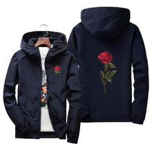 Load image into Gallery viewer, Rose Windbreaker Jacket - Navy Blue / Us Xs