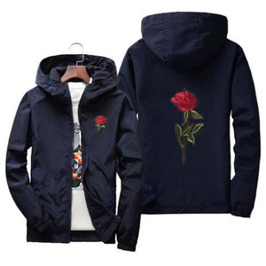 Rose Windbreaker Jacket - Navy Blue / Us Xs