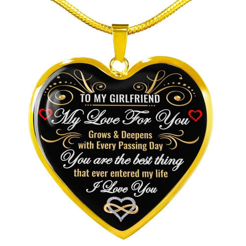 To My Girlfriend - Heart Necklace - Luxury Necklace (Gold) / No - Jewelry