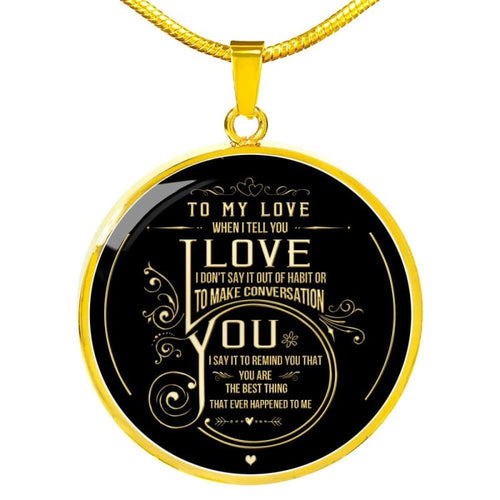 To My Love - Round Necklace - Luxury Necklace (Gold) / No - Jewelry