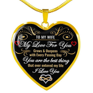 To My Wife - Heart Necklace - Luxury Necklace (Gold) / No - Jewelry