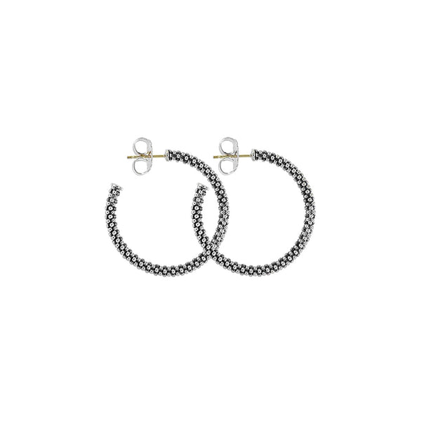 Lagos - SS/14k WG Signature Caviar Earrings, 01-80718-28