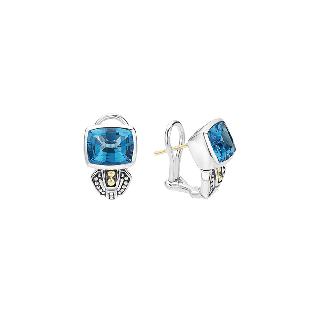 Lagos - SS/18K YG Caviar Color Blue Topaz Earrings, 01-81515-B