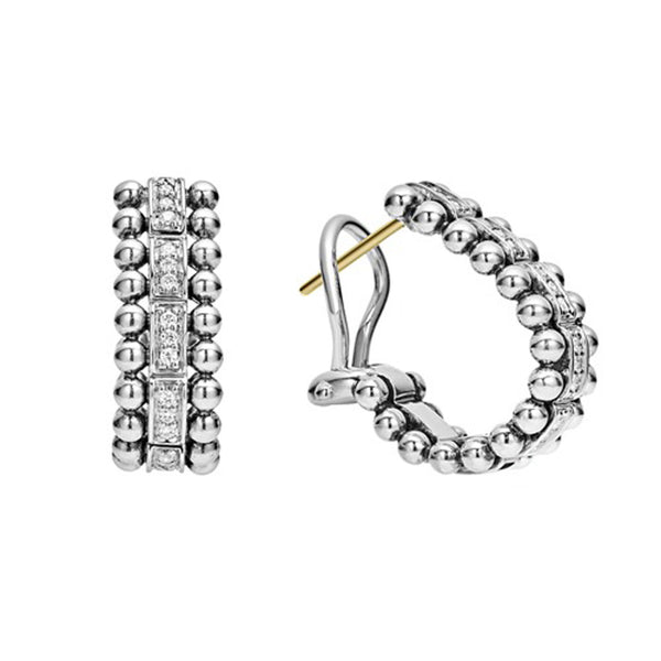 Lagos - SS Caviar Spark 0.18ctw Diamond Earrings, 01-81573-DD