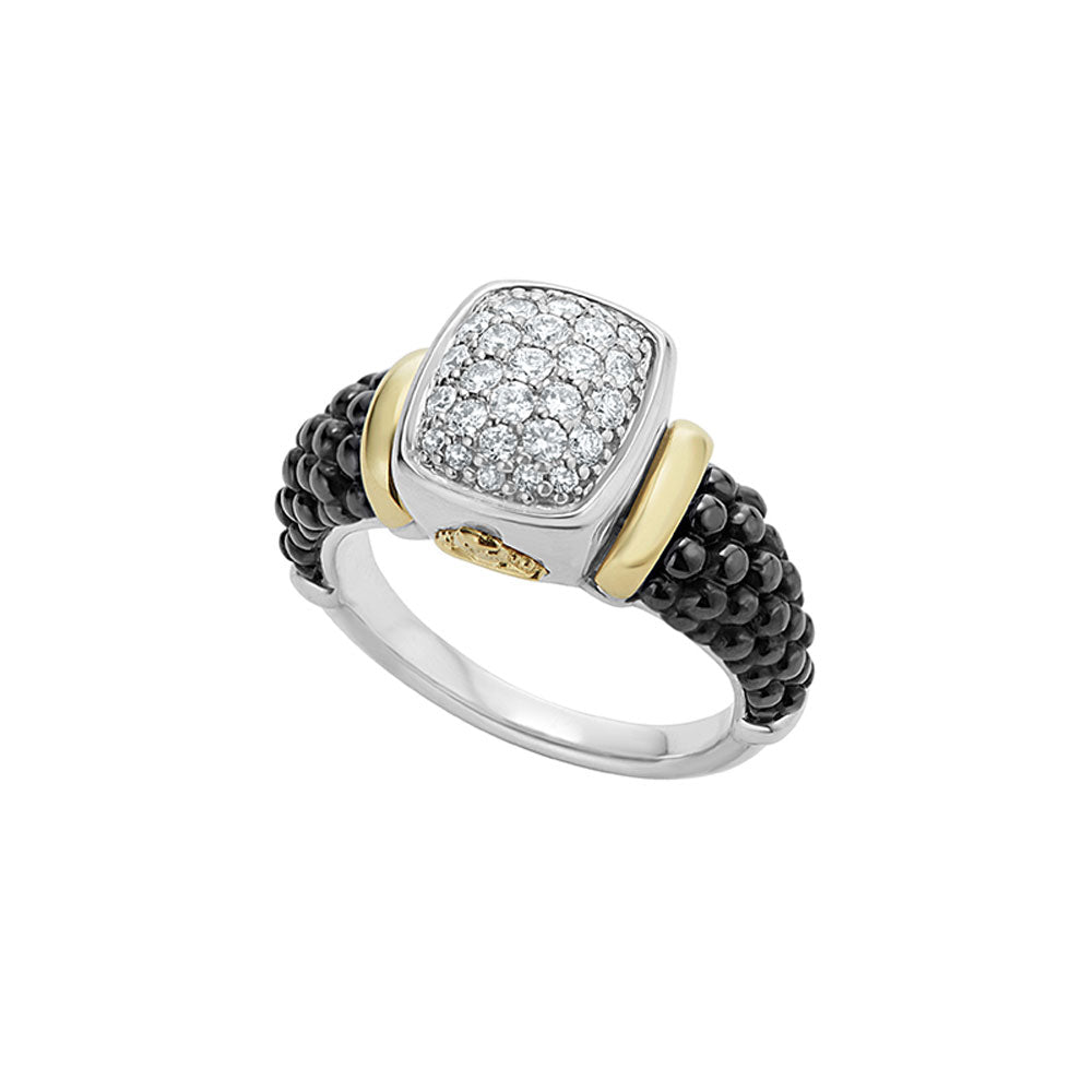 Lagos - SS/18K YG Black Caviar Diamond 0.47ctw Ring, 02-80572-CB7