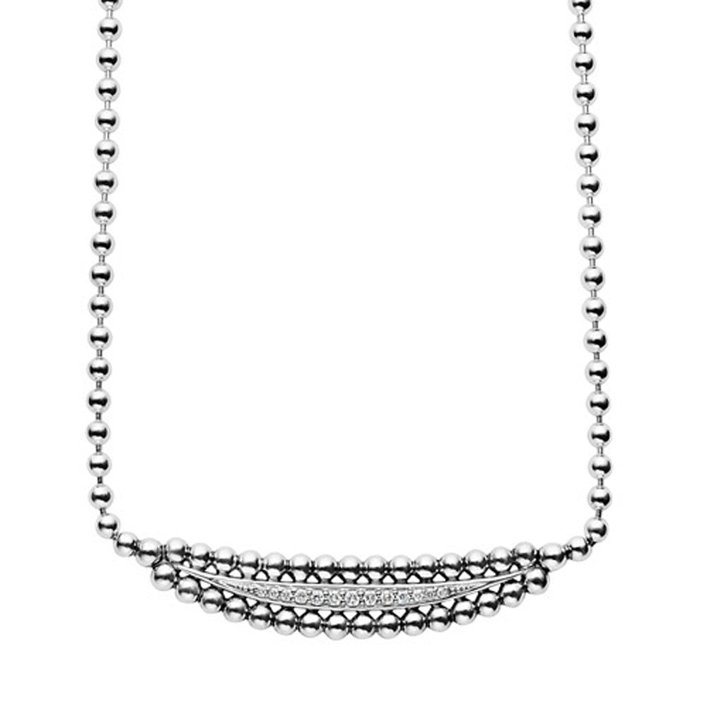 Lagos - SS Caviar Spark 0.12ctw Diamond Necklace, 04-81004-DDML