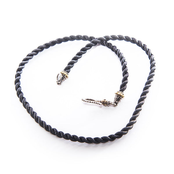 Bixby SS/18K Twisted Black Cord Necklace 18""