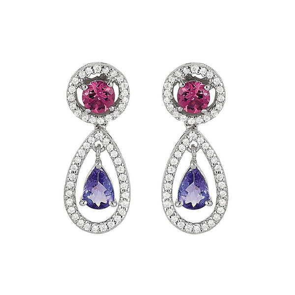 Diamond, Tanzanite and Pink Tourmaline Earrings in 14K White Gold (1/3 carat t.w.)