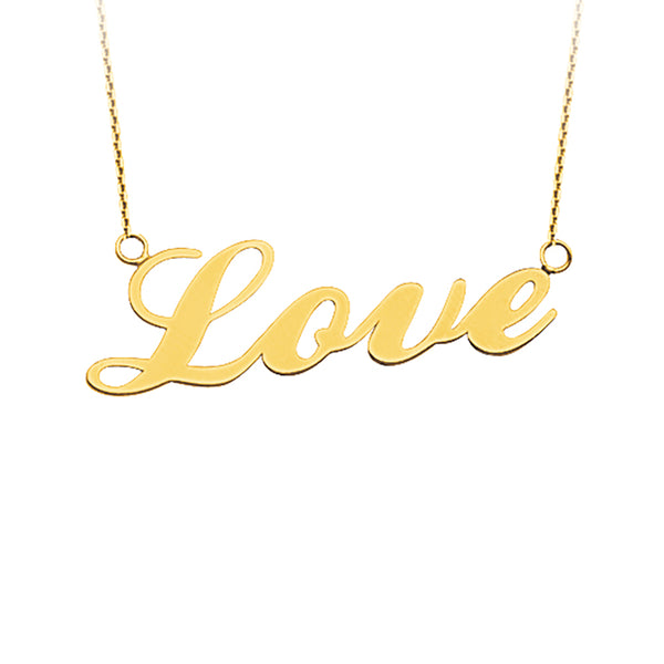 "14K YG ""Love"" East-to-West Pendant, 18"""