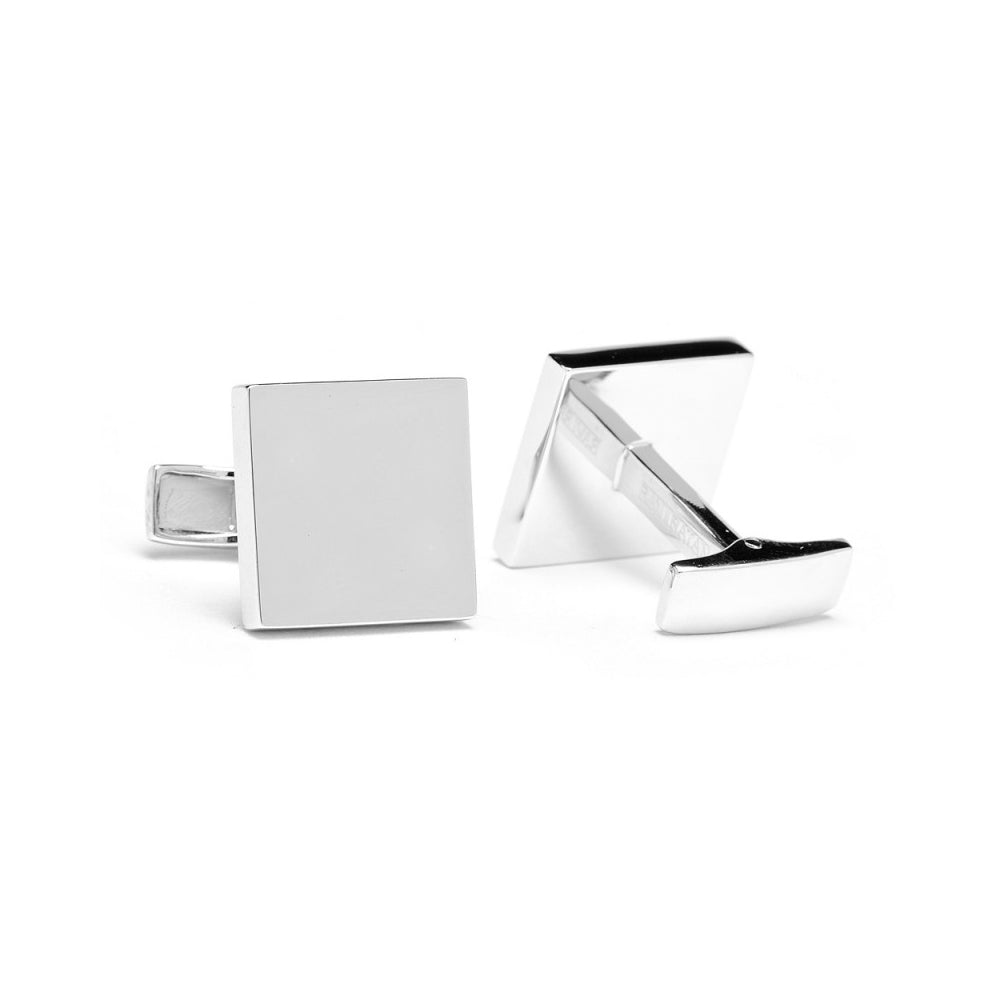 Sterling Silver Infinity Edge Square Engravable Cufflinks