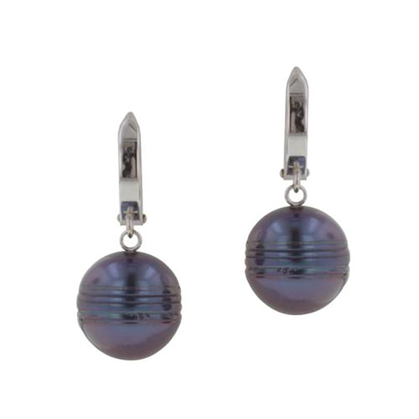 Honora SS 11-12mm Round Black FWP Drop Leverback Earrings