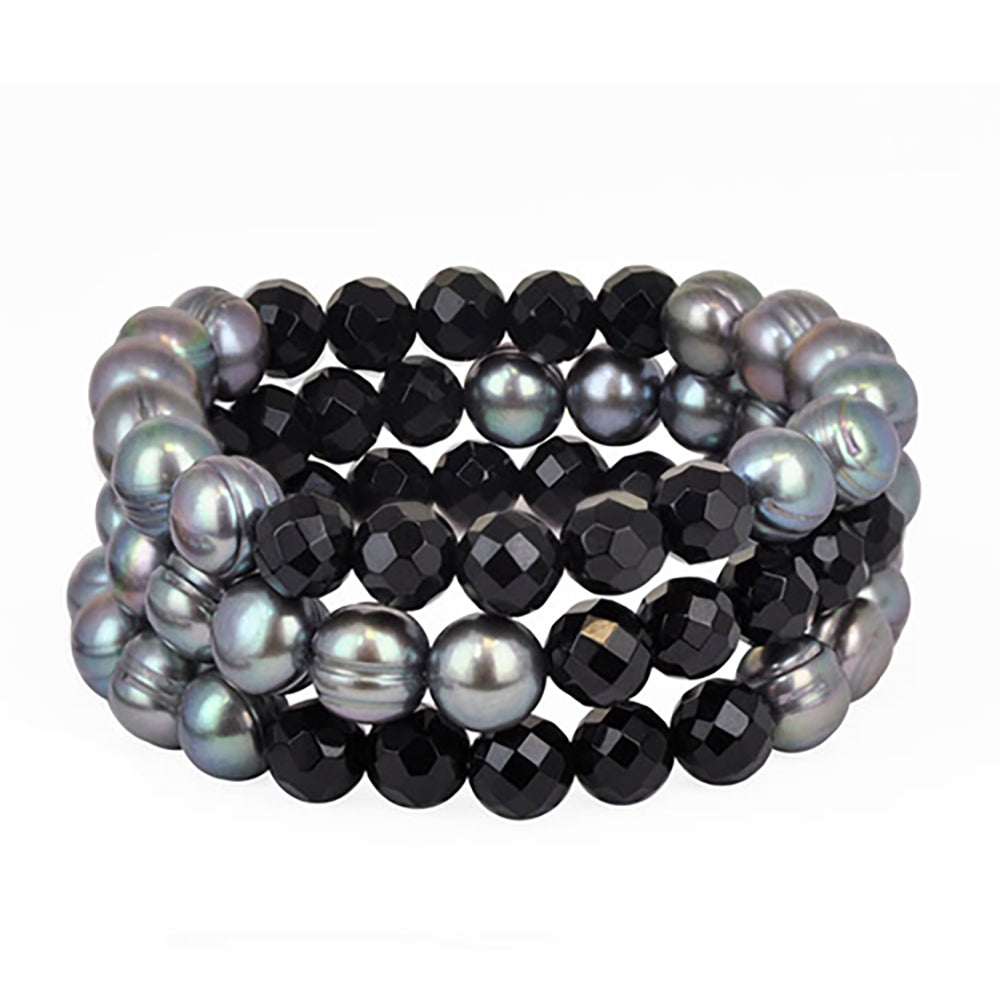 Honora 9mm Blue Round FWP 8mm Onyx Ball Stretch 3-Piece Bracelet