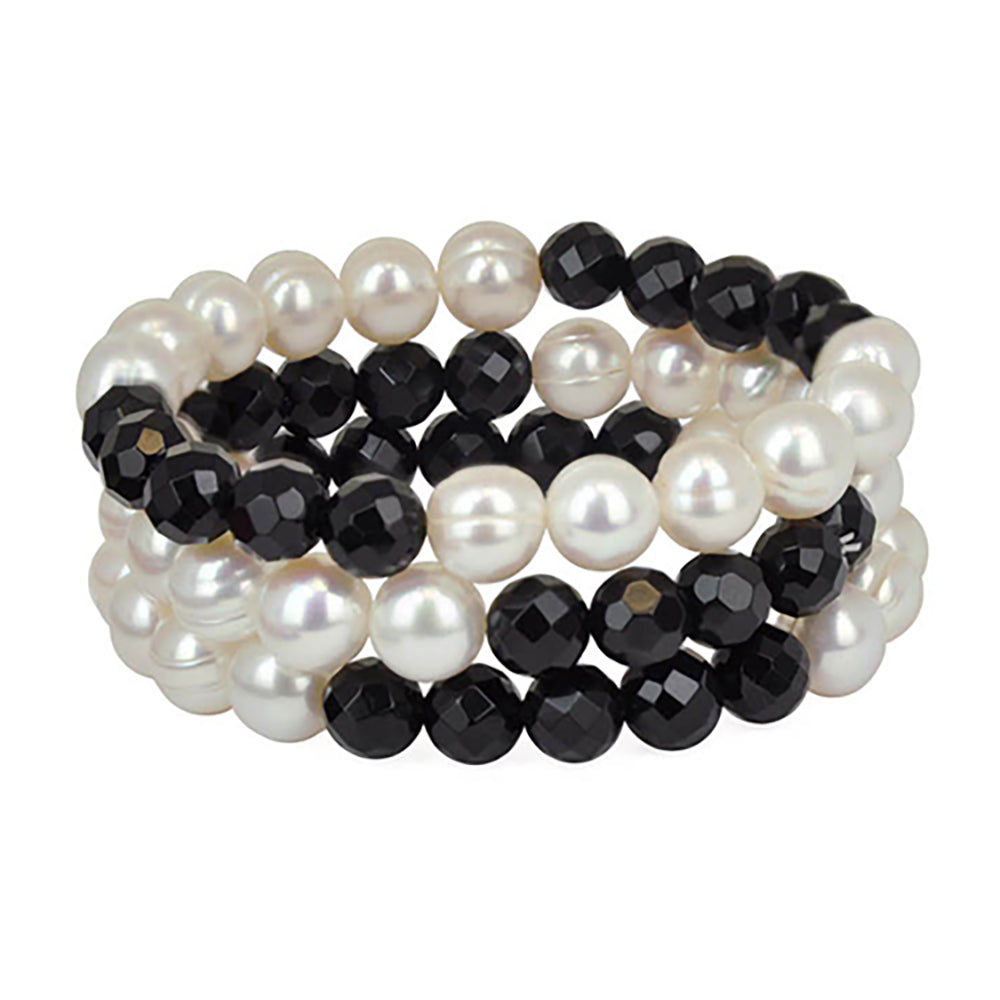 Honora 9mm White Round FWP 8mm Onyx Ball Stretch 3-Piece Bracelet