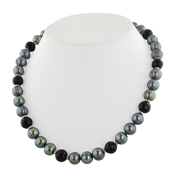 Honora SS 9-10mm Black Round Ridged FWP with 10mm Onyx Space Necklace 18""