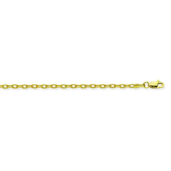 14K YG 2.15mm Textured Forzentina Chain, 18""