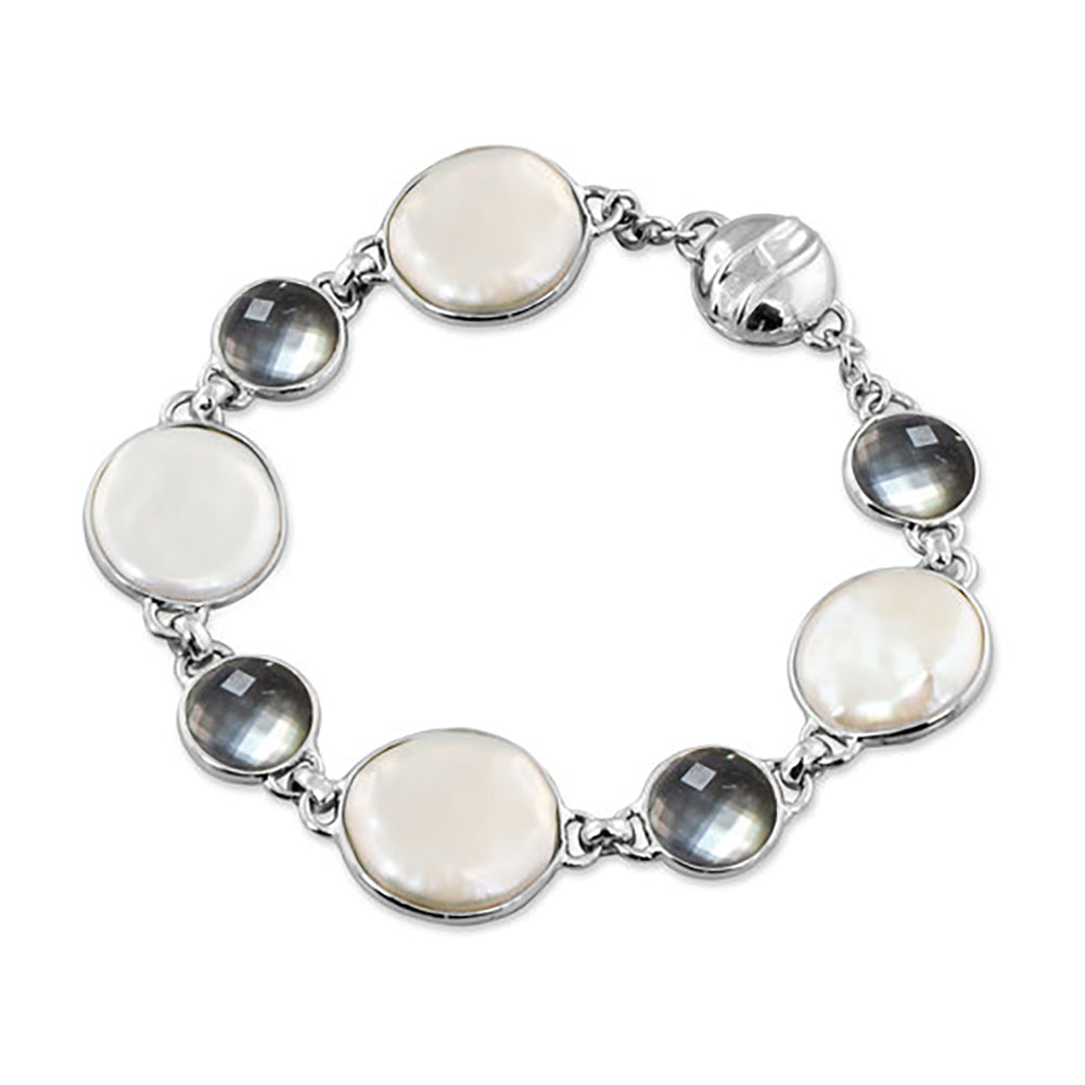 Honora SS 15-16mm Coin Pearl and Mother of Pearl Bracelet