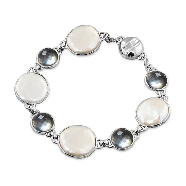 SS 15-16mm Coin Pearl and Mother of Pearl Bracelet