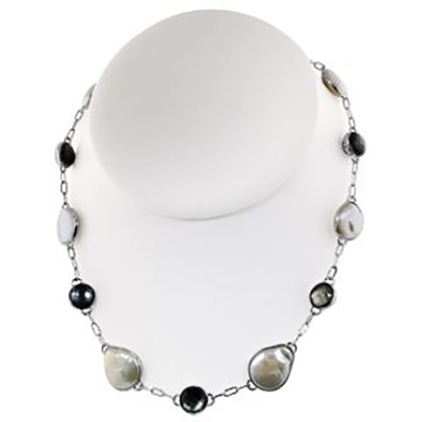 Honora SS 13-16mm White Bar Coin FWCP/BL MOP Cloud Necklace 18""